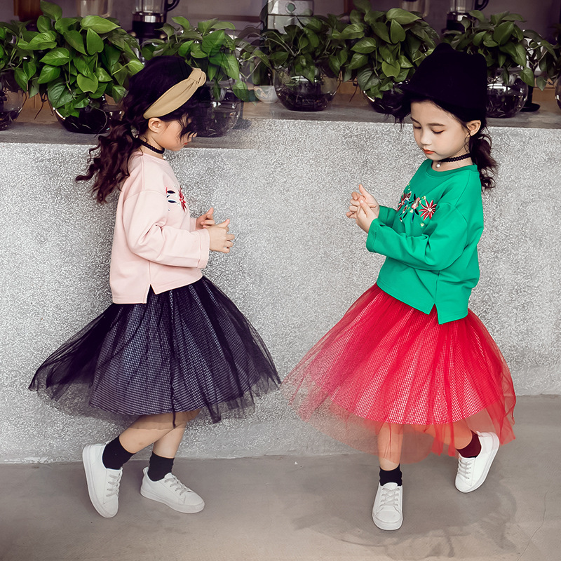 Spring Autumn Baby Girls Clothing Sets Kids Girls Long Sleeve Embroidery Flowers Sweaters + Tutu Skirt 2pcs Girls Suits CA238 girls stereo flowers tee with skirt