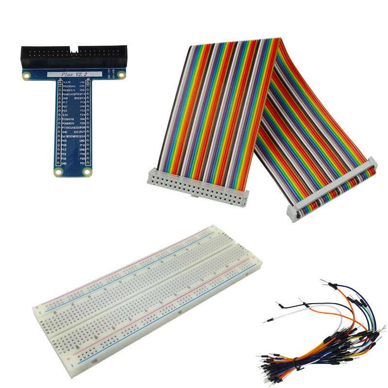 Raspberry Pi 3B + 40 pines GPIO Placa de extensión + 830 punto Breadboard + GPIO Cable + pan de Jersey cable para Orange Pi Banana Pi
