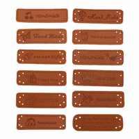 12/10 Stücke Handgemachte Etiketten für Kleidung Pu-leder-label Tags Auf Kleidung Hut Schuhe Tasche DIY Bekleidung Nähen zubehör