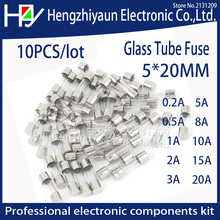 10Pcs/lot Fast Quick Blow Glass Tube Fuse Assorted Kit Fuses 1A 2A 3A 5A 6A  10A 12A 15A 20A/250V 5*20 mm thermo