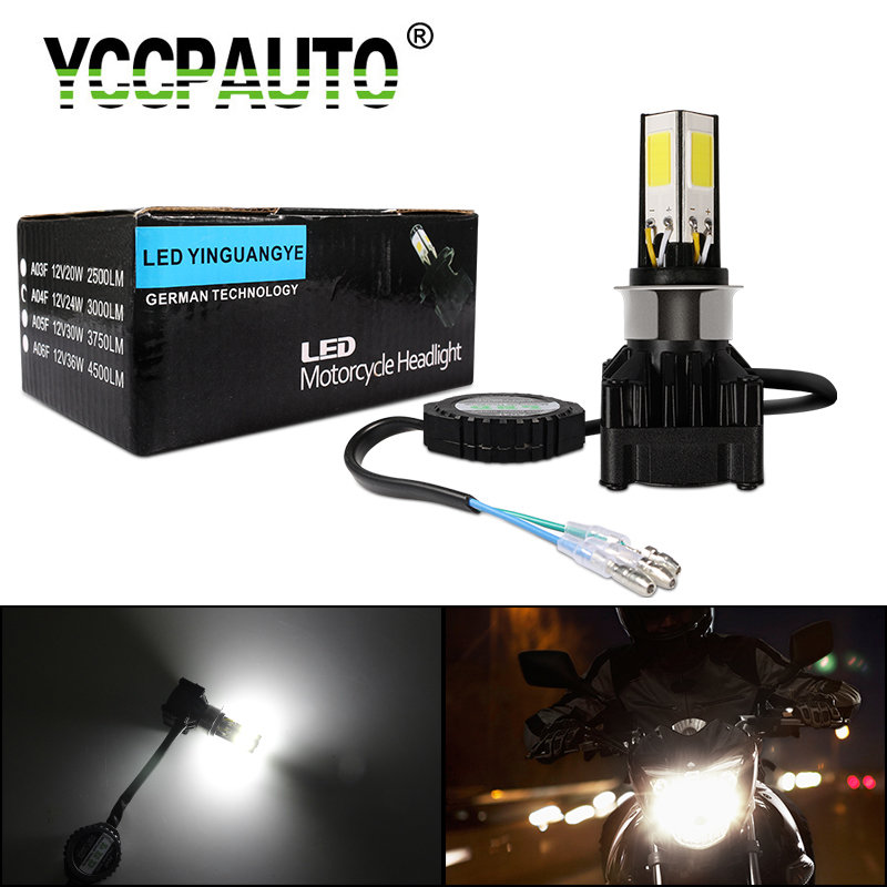 YCCPAUTO H4 HS1 LED Motorcycle Headlights H6 Ba20d PH7 PH8 LED Moto Bulbs For Motorbike Scooter Head/Fog Lamp 24W 3000LM White