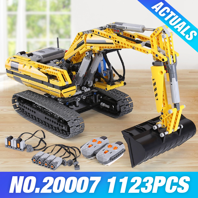 2018 LEPIN 20007 technic MOTORIZED EXCAVATOR Model Compatible 8043 Building Blocks Brick Kid Educational Toys Children DIY Gifts loz smartable technic series red excavator diy building brick blocks toys compatible with legoingly technic car gift toy to kid