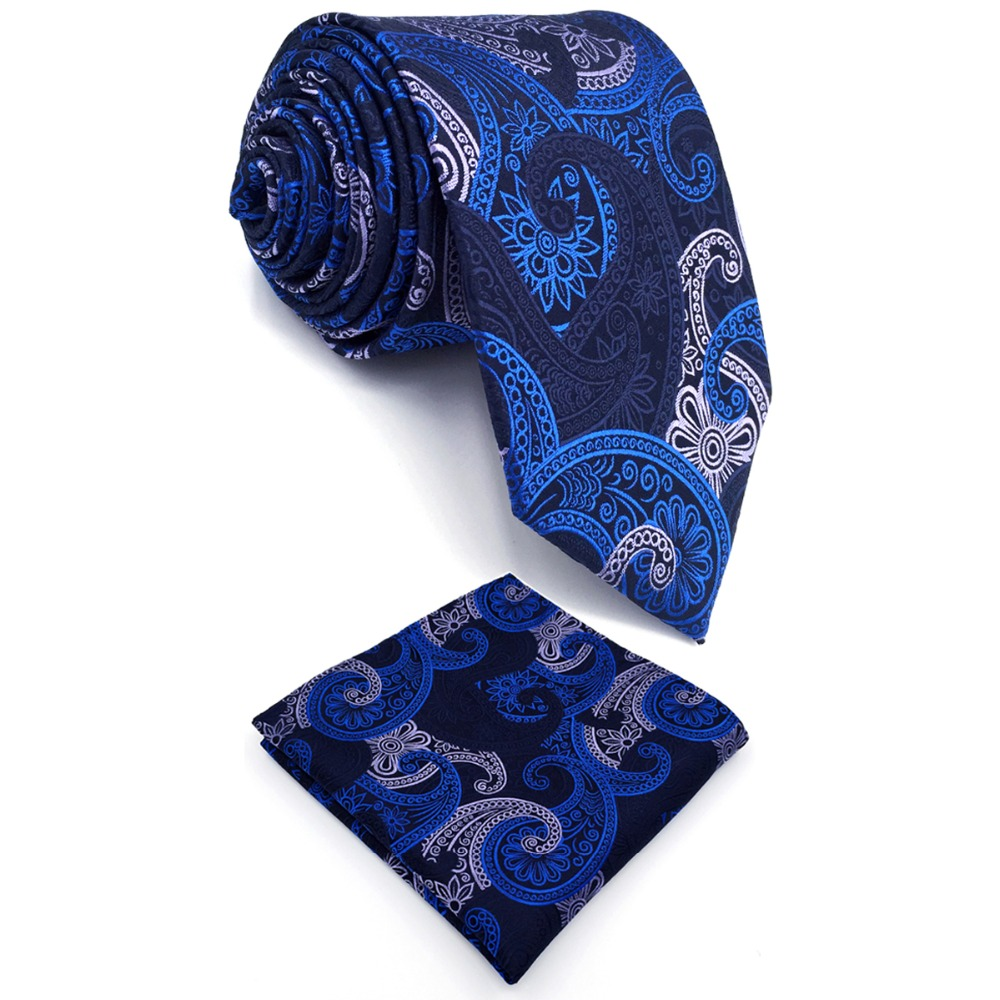 B14 Navy Paisley Silk Men Ties Neckties Wedding Fashion Ties for male Brand New Dress Hanky extra long size 63