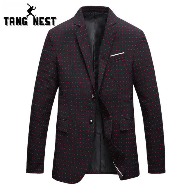 Tangnest 2017 otoño de la manera pequeños puntos hombres chaqueta caliente de la venta informal de negocios de un solo pecho trajes delgado blazer masculino mwx360
