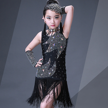 girls tassels latin dance costumes stone latin dance dress girl dance dress dancewear black latin dresses kids
