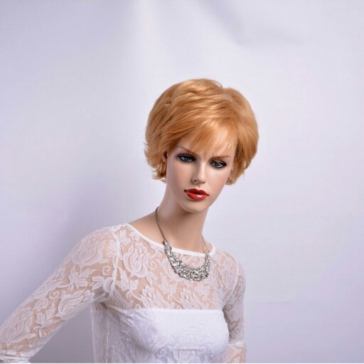 Light Blonde Wigs For Older Women Fashion Puffy Synthetic Natural Looking African American Cheap Short Hair Wig