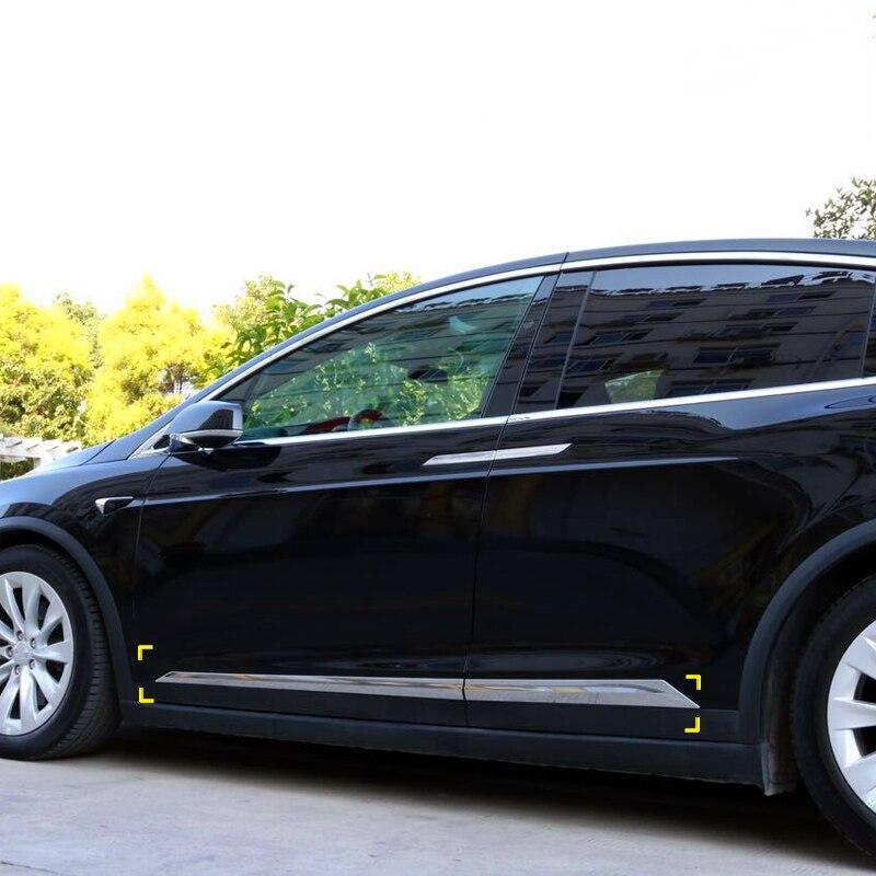 Для Tesla MODELLO x 2016 2017 2018 ABS Chrome автомобиль-Стайлинг Accessori laterale дель корпоративных литья copertura отделкой 4,