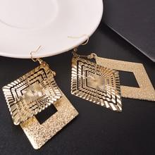Fashion 1 pair Elegant Gold /Silver Plated Drop Earrings for women boucle d'oreille femme pendante Jewelry pair of elegant faux gem clip earrings for women