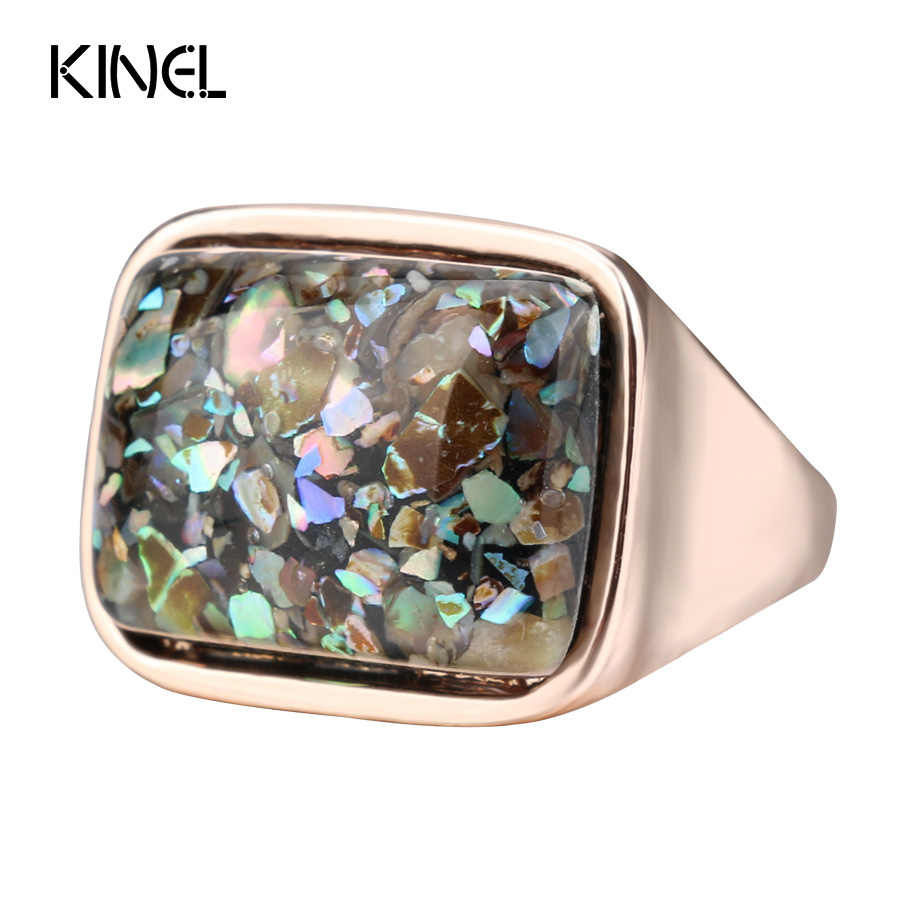 Kinel Luxury Women's Ring Stylish Simplicity Vintage Jewelry Rose Gold Colorful Shell Rings For Women 2017 New Christmas Gift