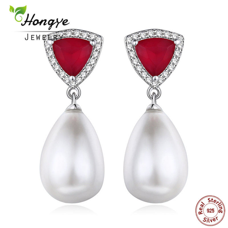 Hongye New Design Women Charm Wedding 925 Sterling Silver Cultured Freshwater Pearl Earrings Red Triangle Shape Brincos As Gift