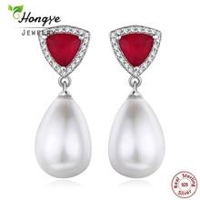Hongye New Design Nők Charm Esküvői 925 ezüst tenyésztett édesvízi gyöngy fülbevaló piros háromszög Brincos mint ajándék