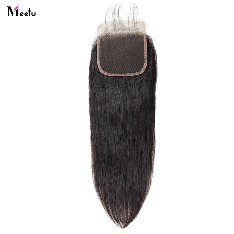 Meetu Peruvian Straight Hair Closure With Baby Hair 4x4 Inch Swiss Lace Closure Non Remy Human Hair Closure With 130% Density