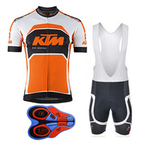 2017 KTM Mens Cycling Jersey Summer Mtb Bike Clothing Bicycle Short Sleeves 9D Bib Shorts Suit