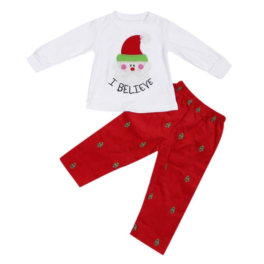 2pcs Unisex Baby Kids Christmas Cothing Set Santa Claus Printed Long Sleeve T-Shirt+Long Pants Holiday Clothes ...