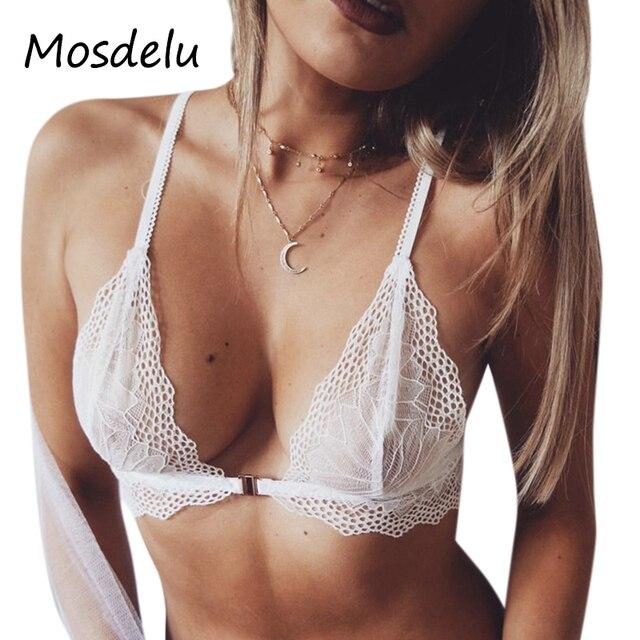 c5896d5fd7d Mosdelu White Strappy Lace Bralette Crop Top Lace Bra Tops Sexy Sheer  Bralette Push Up Bras For Women Bralette encaje Lingerie