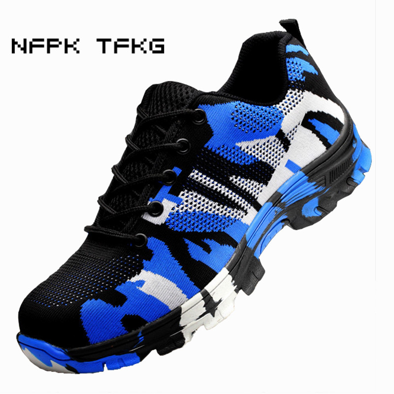 plus size men s fashion breathable mesh steel toe covers working safety shoes camouflage site factory
