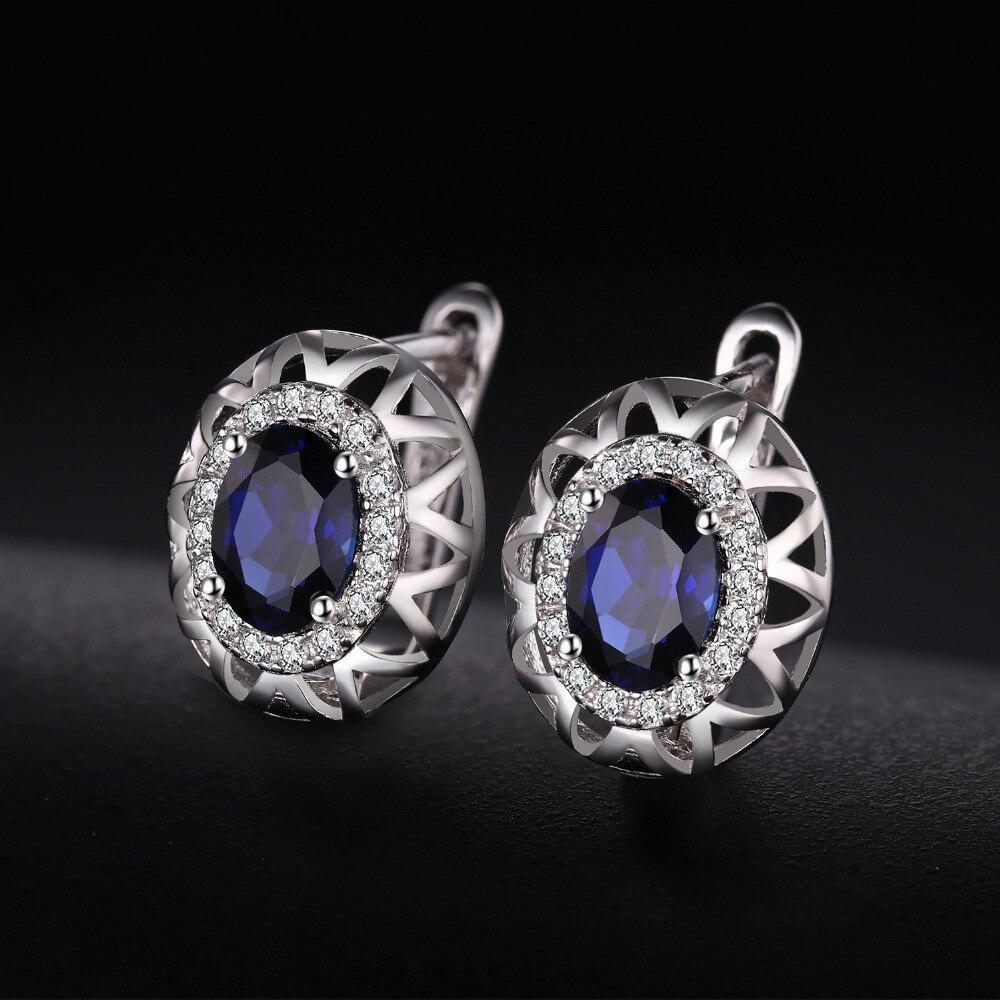 Jewelrypalace Oval 925 plata esterlina joyería conjunto azul creado anillo de zafiro pendiente marca Clip para las mujeres joyería fina - 4