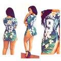 2015 Estilo Verão Top T-shirt da Cópia da Flor Sexy Fenda Vestidos Bandage Bodycon Casuais Mulheres Curtas Roupas ROYAL 19