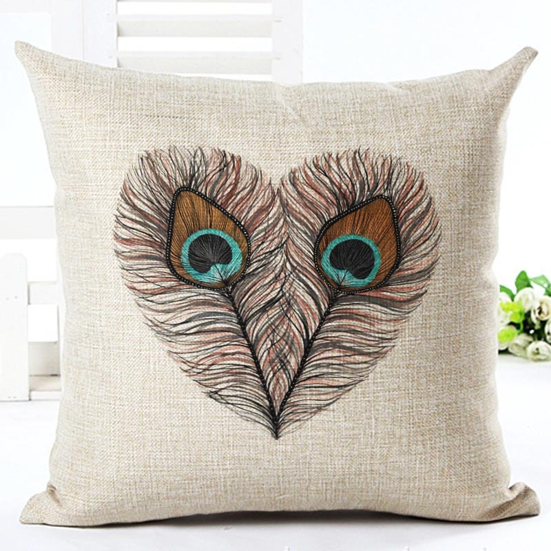 Nordic Style Feather Printed Modern Minimalist Linen Cotton Cushion For Sofa Home Car Decorative ...