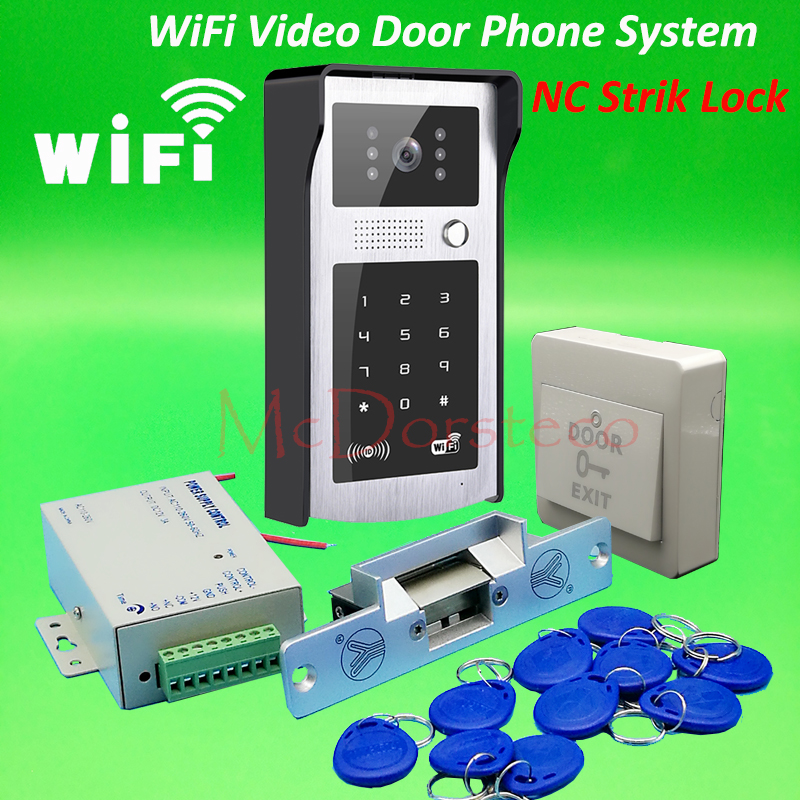 Android ISO App WIFI Video Door Phone RFID & Code Keypad Doorbell NC Electric Strike Lock System + Power Supply Access Control android iso app wifi video door phone rfid keypad doorbell long type no electric strike lock system wifi door access control kit