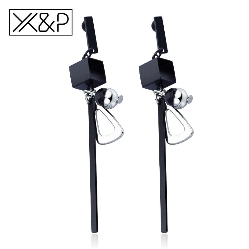 X&P Fashion Elegant Korean Style Tassel Silver Long Drop Earrings for Women Girls Simple Geometric Gold Earring Jewelry Gift