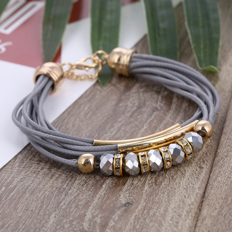 Hesiod grey color multi-layer chain beads charm bracelets punk style genuine leather rope bracelet wristband