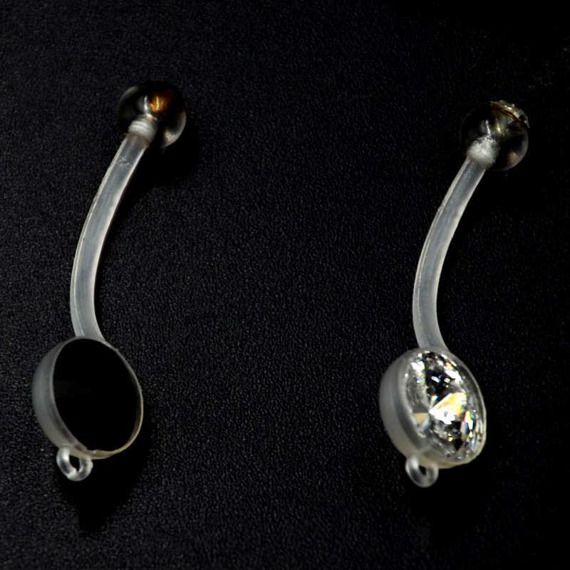 Showlove 1pc Bioplast Flexible Ptfe Double Created Daimond Belly Ring Navel Body Jewelry
