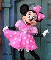 2017 Minnie Traje de La Mascota Rosada de Minnie Mouse Traje de La Mascota Envío Gratis