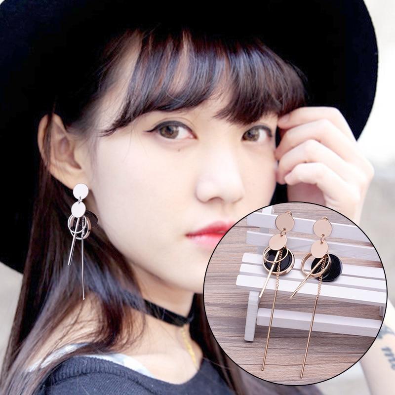 Sale Luxury Rhinestone Vintage Tassel Earrings Drop Earring For Women Party Jewelry Black Chains Long Dangle Earrings