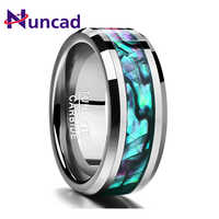 Nuncad 2018 trend 8MM inlaid abalone shell beveled tungsten carbide ring Jewelry For Wedding party finger rings dropshipping