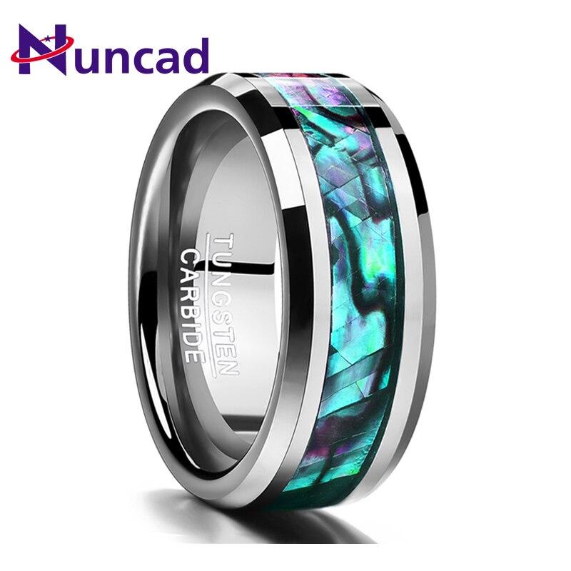 Nuncad 2018 trend 8mm eingelegten abalone shell abgeschrägte wolfram hartmetall ring Schmuck Für Hochzeit party finger ringe dropshipping