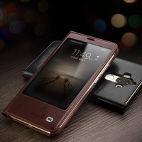QIALINO Cowhide Flip Bag Sleep Wake Function For Huawei Mate 9 View Window Leather Flip Wallet