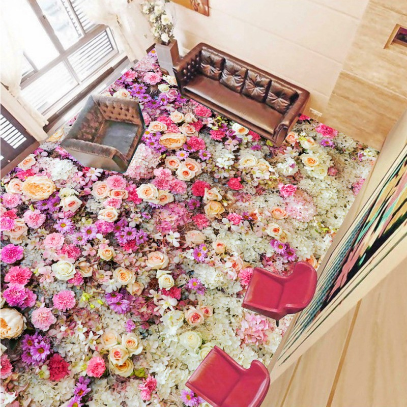 Free shipping custom Flower plants floor bathroom flooring moisture proof thickened non-slip living room 3d wallpaper mural