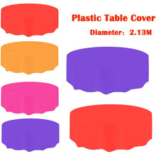213CM Large Plastic Round Tablecloth Wipe Clean Disposable Party Dinner Table  Covers Desk Decor Solid Color