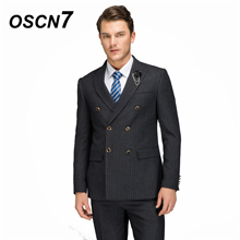 OSCN7 Custom Wool Double-breasted Vertical stripes Tailor Made Suits 2PCS Suit Men 2018 Winter Thick Slim Fit Peak Lapels 14231