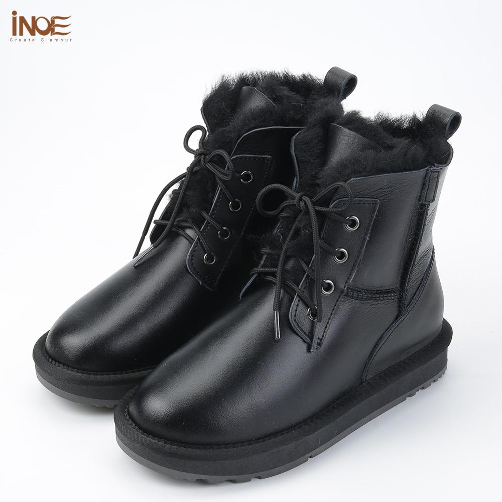 Image 5 - INOE Sheepskin Leather Wool Fur Lined Men Lace Up Short Ankle 