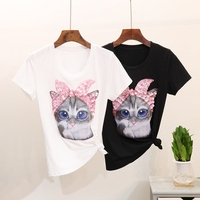 new brand spring summer fashion loose sexy lips love Cat Print T shirt Star embroidered sequins tops leisure bee T shirt