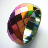 1PC Fashion Rainbow Wide Faceted Cut Surface Hematite Finger Rings US Size 9 5 10 5