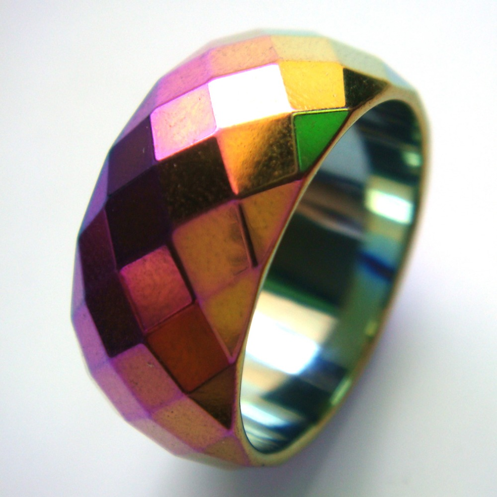 dcf703f9bf832 US $12.98 |1PC Fashion Rainbow Wide Faceted Cut Surface Hematite Finger  Band Rings US Size 10.5, 11, 12, 12.5-in Rings from Jewelry & Accessories  on ...