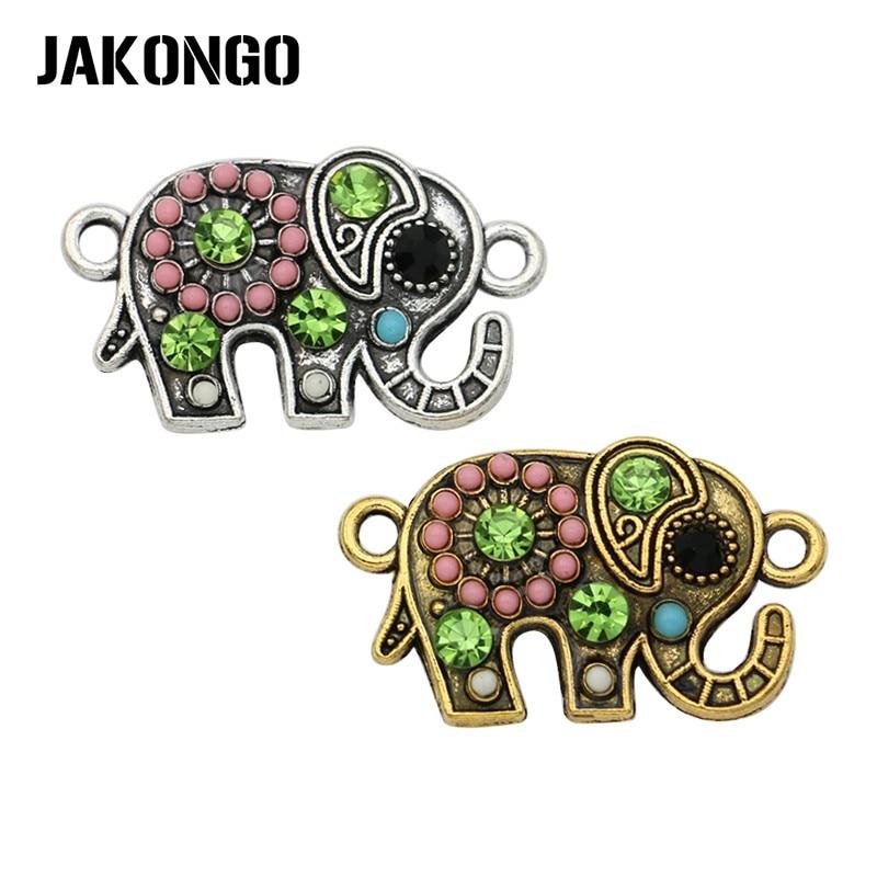 цена на JAKONGO Antique Silver Bohemian Style Elephant Connector for Jewelry Making Bracelet Accessories Findings DIY 22x13mm 5pcs/lot