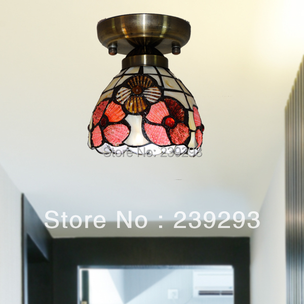 ФОТО MAMEI Free Shipping 110-240V Indoor 5 Inch Imitation Tiffany Lamps Ceiling Lamp 1 Light With  Flower Design Shell Lamp Shade