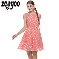 Zeagoo 2016 Sexy Vestido Summer Dress Dot Print Chiffon Elegant Casual Bow Dress White Pink Blue