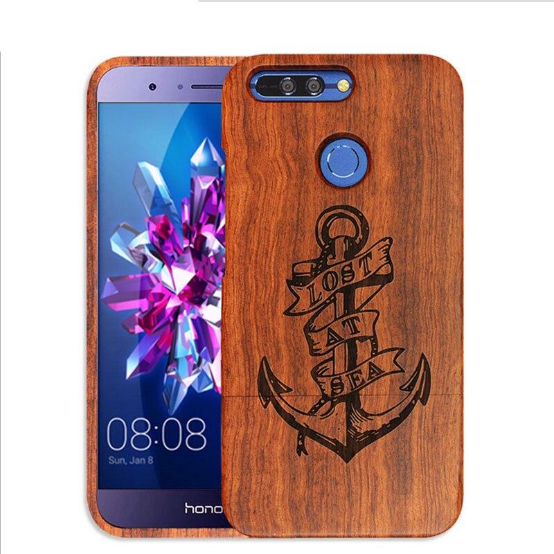 imágenes para Huawei honor 7 case cubierta de madera natural verdadera madera de bambú de lujo talla de madera de la cubierta de protección completa para huawei honor teléfono v9 bolsa