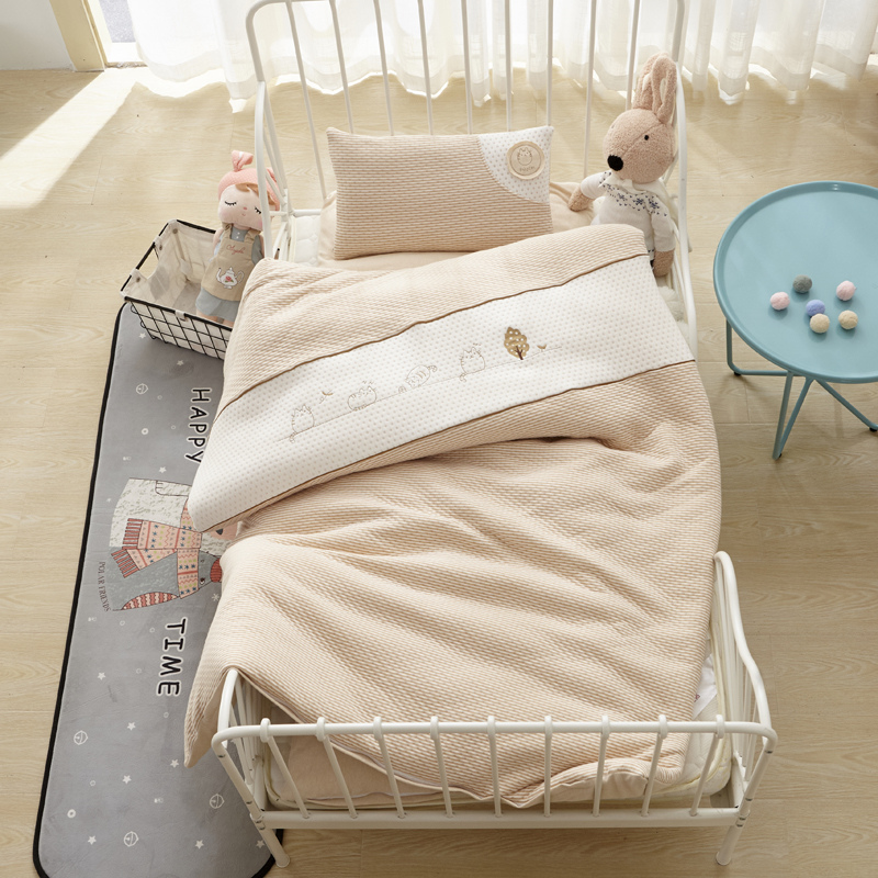 Kitty Coffee Color 7Pcs Bedding Set For Crib Newborn Baby For Girl Boy Detachable Cot Sheet Quilt Pillow Including The Filling