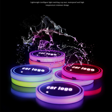 Logo badge Car Led Shiny Water Cup Pad Groove Mat Luminous Coasters Atmosphere Light 7 colour cool car decoration(China)