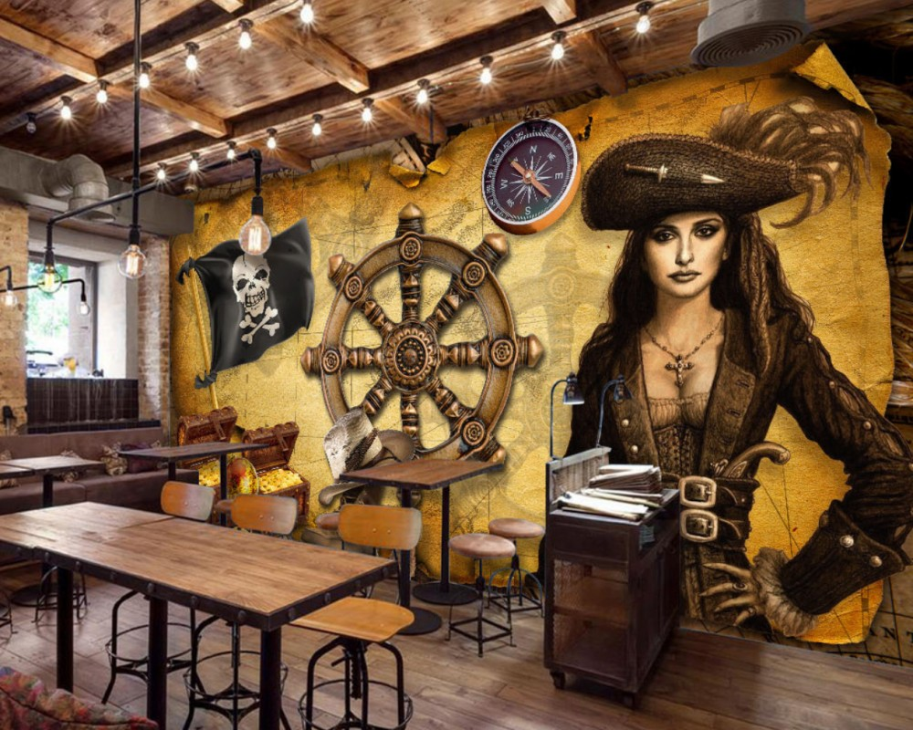 Free Shipping Retro Vintage Rudder Nautical Theme Restaurant Wallpaper Mural Women Pirates Wallpaper Custom 3D Decorative Mural free shipping hepburn classic black and white photographs women s clothing store cafe background mural non woven wallpaper