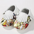 Genuine Leather Baby shoes Printing graffiti Baby shoes Baby moccasins Mixed colors First Walkers