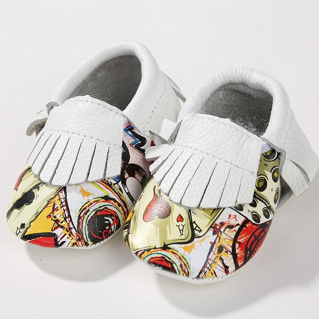 Zapatos de Bebé de Cuero genuino de Impresión de graffiti zapatos de Bebé mocasines Bebé colores Mezclados Primeros Caminante