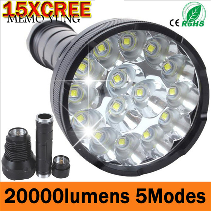 Krachtige LED Zaklamp 20000 Lumen Lanterna led Linternas Zaklamp 15 x CREE XM-T6 LED Waterdichte Super Heldere LED Zaklamp