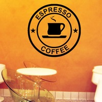 Wall Decals Cup Espresso Coffee House Fast Food Kitchen Vinyl Sticker Decor